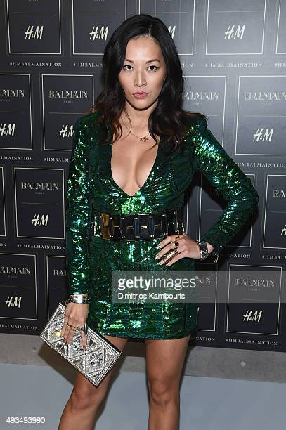 Tina Leung attends the BALMAIN X HM Collection Launch at 23 Wall Street on October 20 2015 in New York City