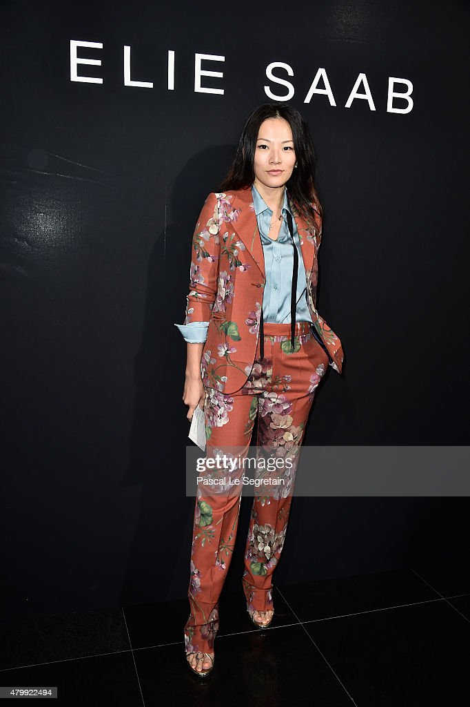 Tina Leung attends the Elie Saab show as part of Paris Fashion Week Haute Couture Fall/Winter 2015/2016 on July 8 2015 in Paris France