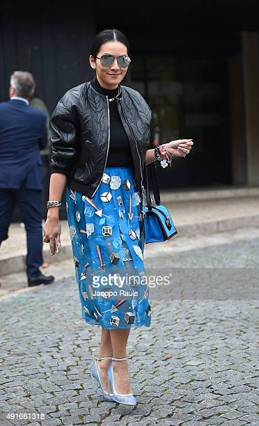 Tina Leung depart the Miu Miu Fashion Show during the Paris Fashion Week S/S 2016 Day Nine on October 7 2015 in Paris France
