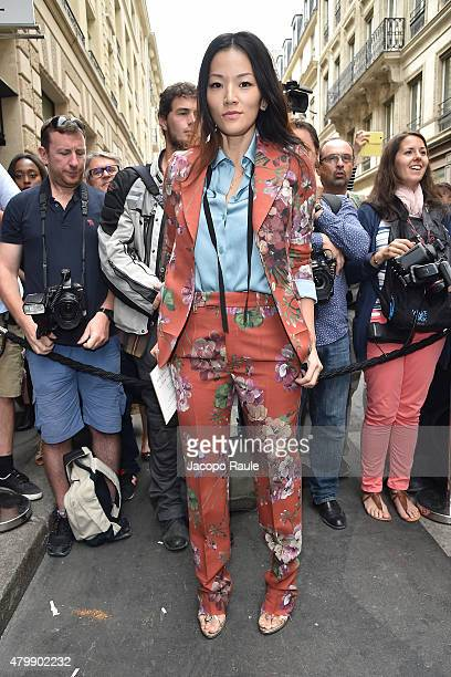 Tina Leung is seen arriving at Elie Saab Fashion Show during Paris Fashion Week Haute Couture Fall/Winter 15/16 Day Four on July 8 2015 in Paris...