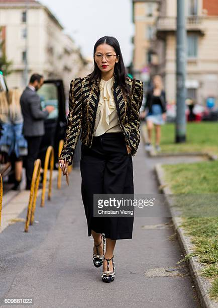 Tina Leung is seen outside Alberta Ferretti during Milan Fashion Week Spring/Summer 2017 on September 21 2016 in Milan Italy