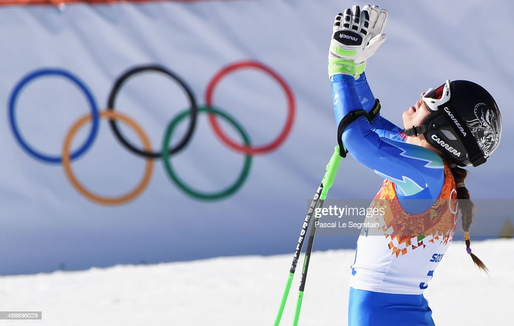 <a gi-track='captionPersonalityLinkClicked' href=/galleries/search?phrase=Tina+Maze&family=editorial&specificpeople=213514 ng-click='$event.stopPropagation()'>Tina Maze</a> of Slovenia celebrates after a run during the Alpine Skiing Women's Downhill on day 5 of the Sochi 2014 Winter Olympics at Rosa Khutor Alpine Center on February 12, 2014 in Sochi, Russia.