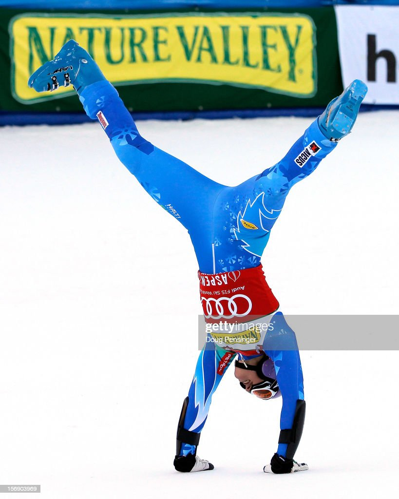 <a gi-track='captionPersonalityLinkClicked' href=/galleries/search?phrase=Tina+Maze&family=editorial&specificpeople=213514 ng-click='$event.stopPropagation()'>Tina Maze</a> of Slovenia celebrates as she wins the women's giant slalom at the Nature Valley Aspen Winternational Audi FIS Ski World Cup at Aspen Mountain on November 24, 2012 in Aspen, Colorado.