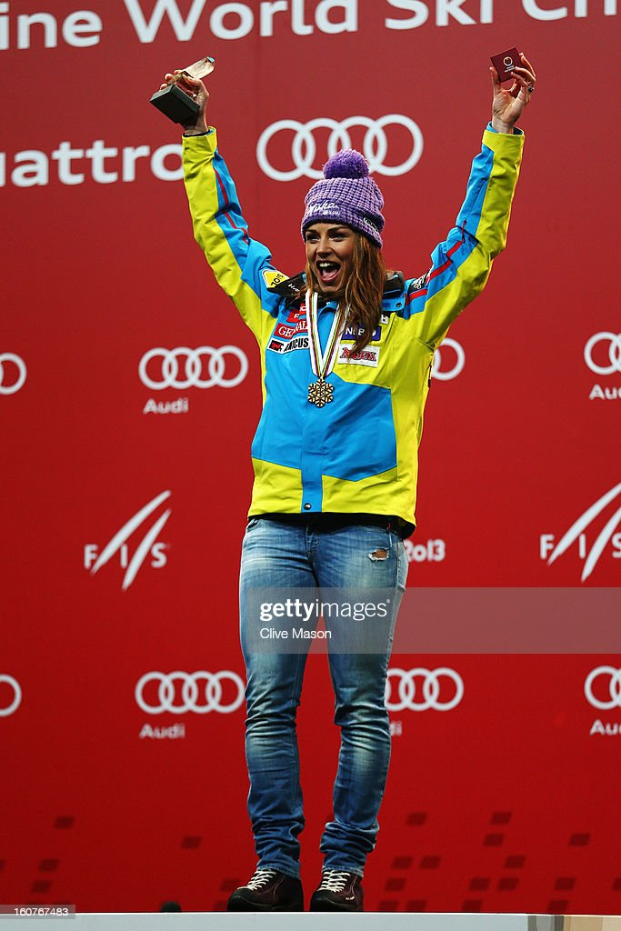 Tina Maze of Slovenia celebrates at the medal ceremony after winning the Women's Super G event during the Alpine FIS Ski World Championships on February 5, 2013 in Schladming, Austria.