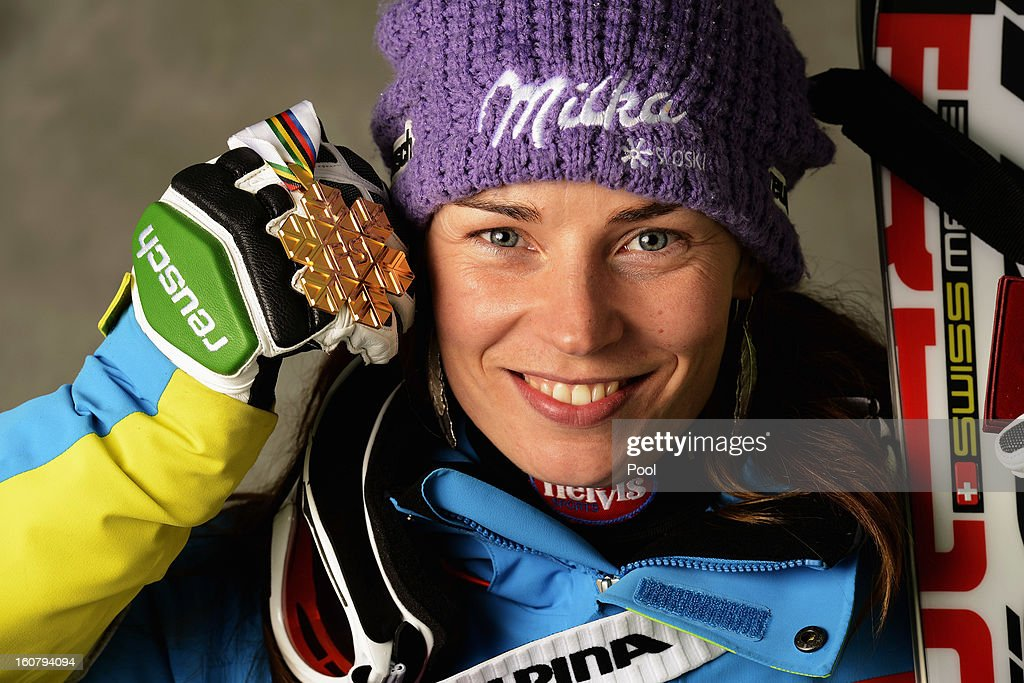 Tina Maze of Slovenia celebrates with her gold medal for winning the Women's Super G event during the Alpine FIS Ski World Championships on February 5, 2013 in Schladming, Austria.