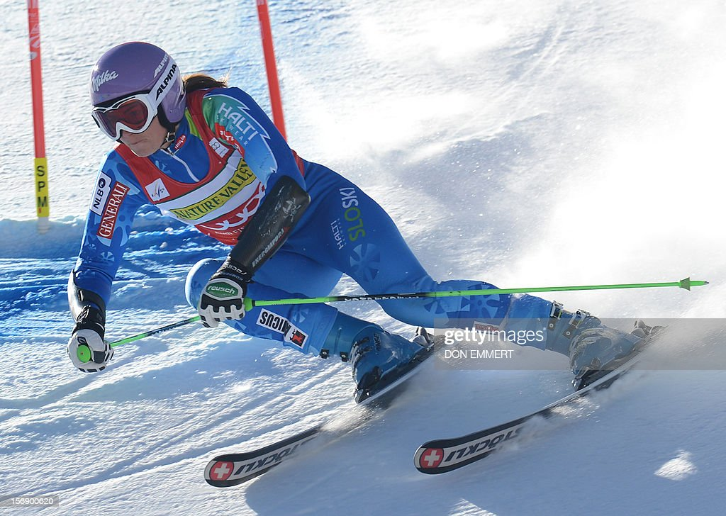Tina Maze of Slovenia clerars a gate during the first run of the women's World Cup giant slalom in Aspen on November 24, 2012. AFP PHOTO/Don EMMERT