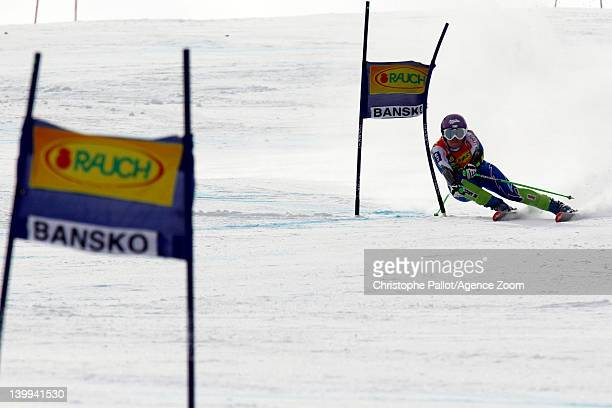 Tina Maze of Slovenia competes during the Audi FIS Alpine Ski World Cup Women's SuperG on February 26 2012 in Bansko Bulgaria