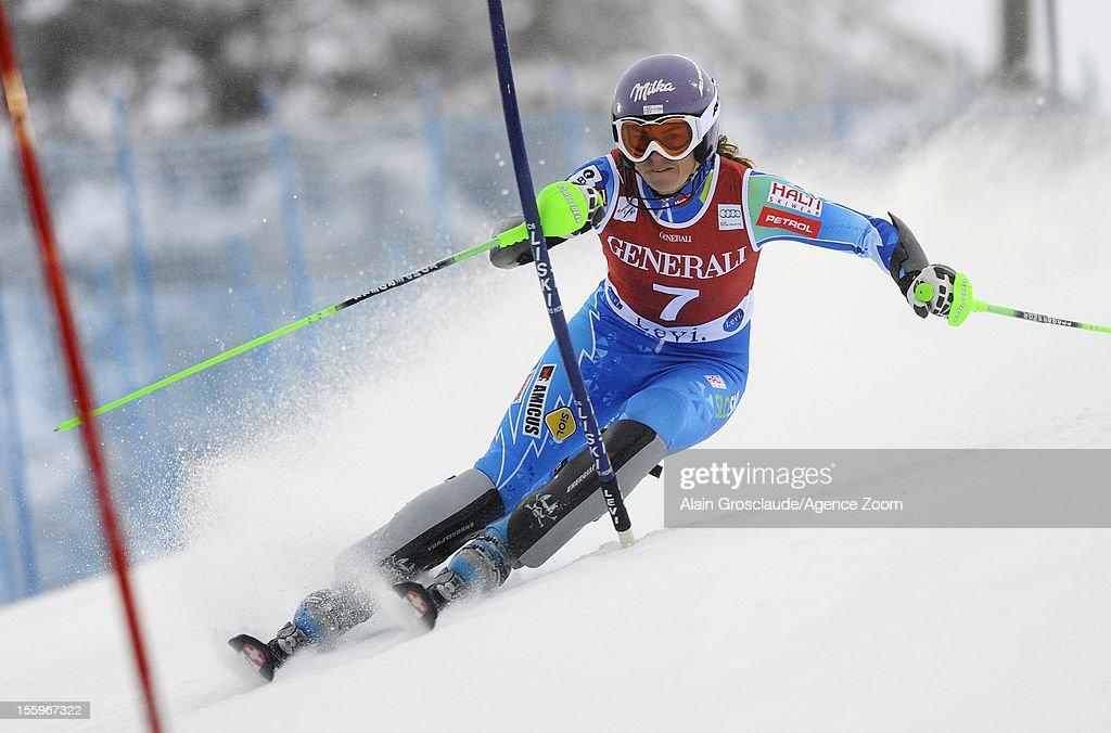 <a gi-track='captionPersonalityLinkClicked' href=/galleries/search?phrase=Tina+Maze&family=editorial&specificpeople=213514 ng-click='$event.stopPropagation()'>Tina Maze</a> of Slovenia competes during the Audi FIS Alpine Ski World Cup Women's Slalom on November 10, 2012 in Levi, Finland.