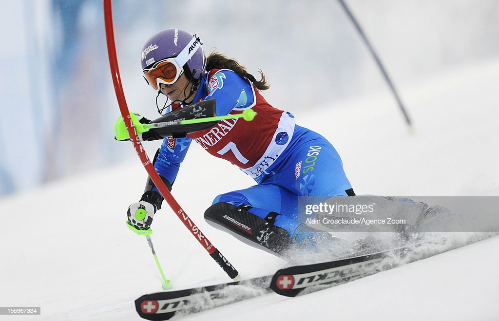 Tina Maze of Slovenia competes during the Audi FIS Alpine Ski World Cup Women's Slalom on November 10, 2012 in Levi, Finland.