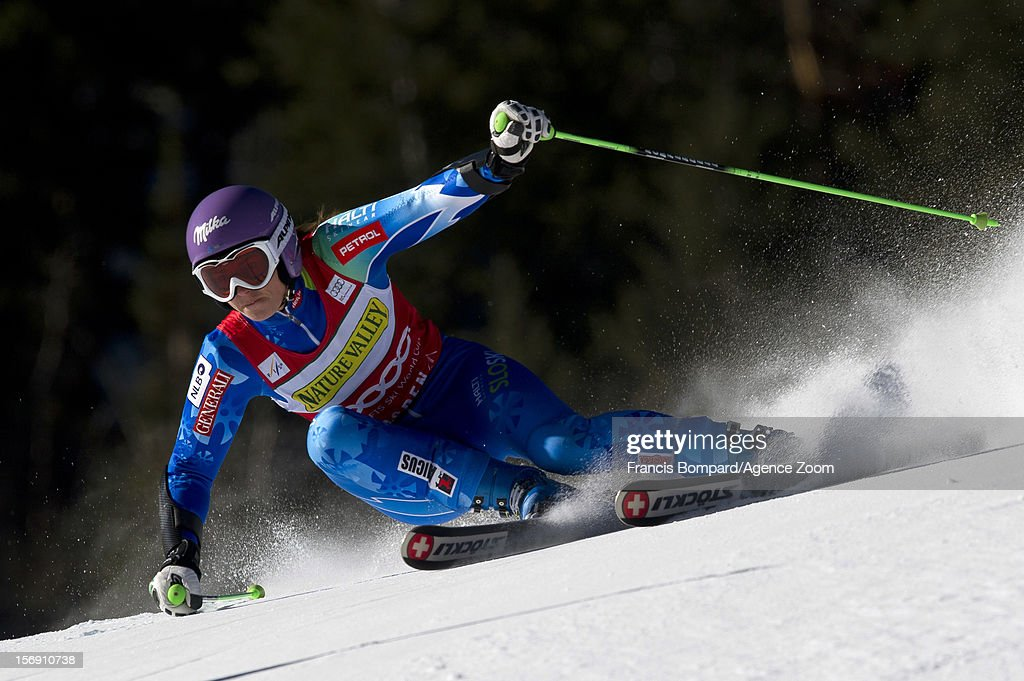 <a gi-track='captionPersonalityLinkClicked' href=/galleries/search?phrase=Tina+Maze&family=editorial&specificpeople=213514 ng-click='$event.stopPropagation()'>Tina Maze</a> of Slovenia competes during the Audi FIS Alpine Ski World Cup Women's Giant Slalom on November 24, 2012 in Aspen, Colorado.
