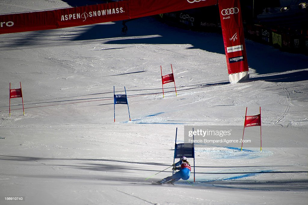 Tina Maze of Slovenia competes during the Audi FIS Alpine Ski World Cup Women's Giant Slalom on November 24, 2012 in Aspen, Colorado.