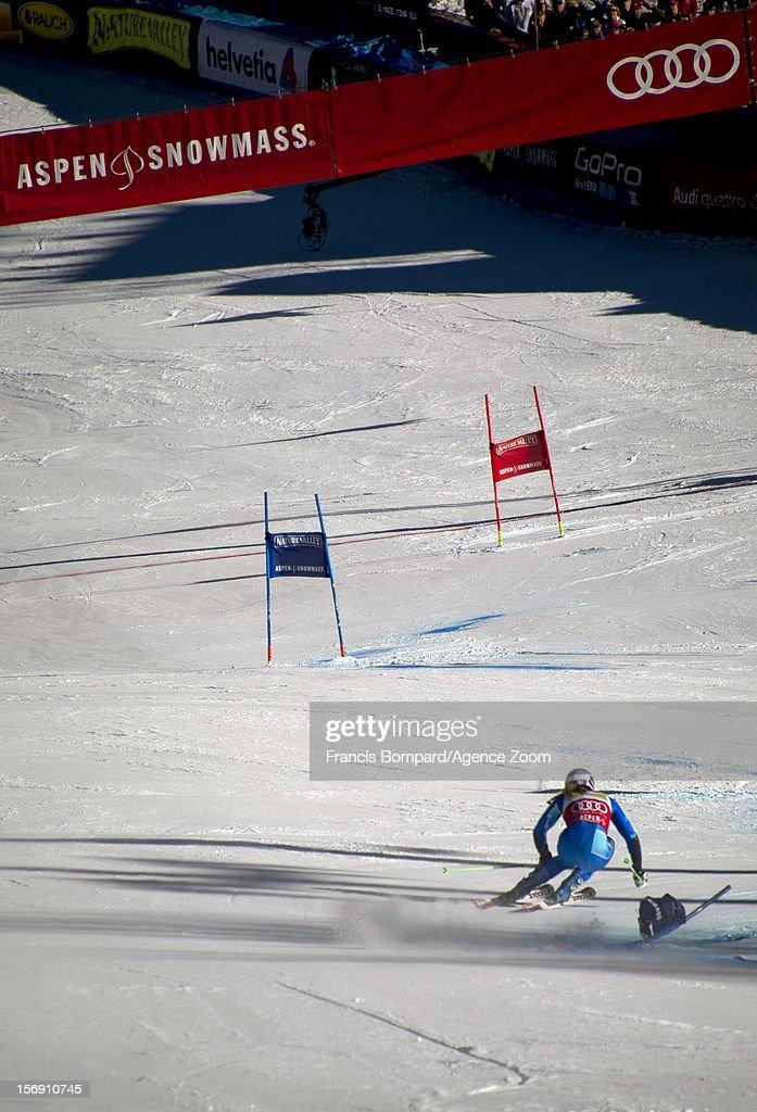 Tina Maze of Slovenia competes during the Audi FIS Alpine Ski World Cup Women's Giant Slalom on November 24, 2012 in Aspen, Colorado.