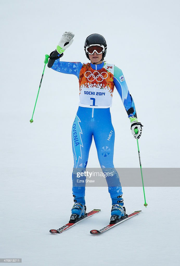 Tina Maze of Slovenia finishes a run during the Alpine Skiing Women's Giant Slalom on day 11 of the Sochi 2014 Winter Olympics at Rosa Khutor Alpine Center on February 18, 2014 in Sochi, Russia.