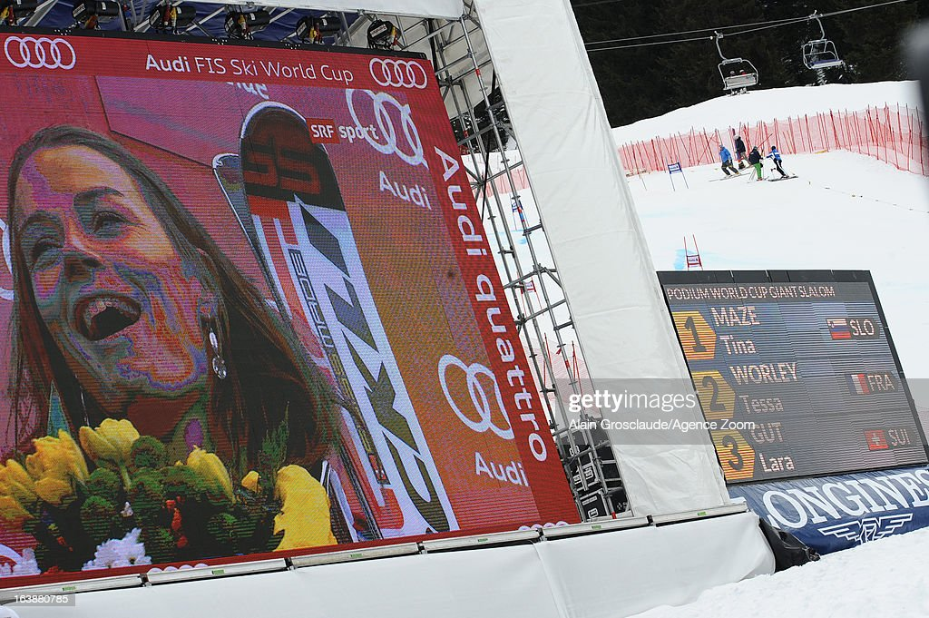 Tina Maze of Slovenia is seen on a screen as she wins the Overall World Cup during the Audi FIS Alpine Ski World Cup Finals March 17, 2013 in Lenzerheide, Switzerland.