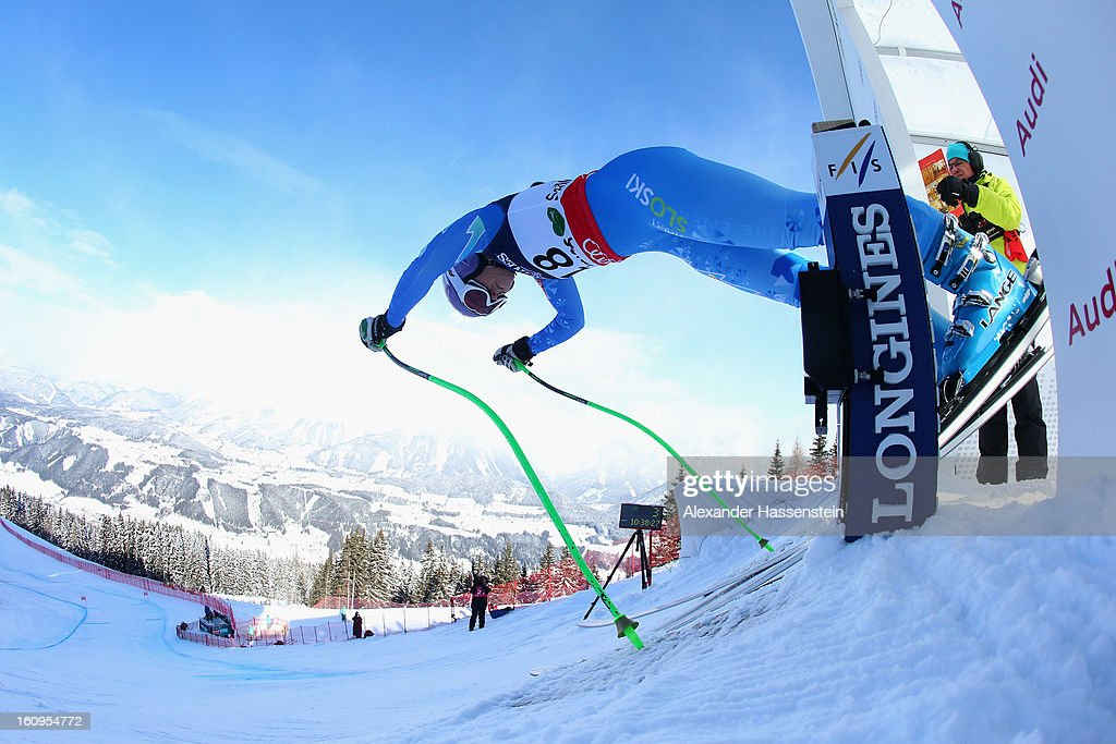 Tina Maze of Slovenia leaves the start gate to ski in the Downhill section of the Women's Super Combined during the Alpine FIS Ski World Championships on February 8, 2013 in Schladming, Austria.