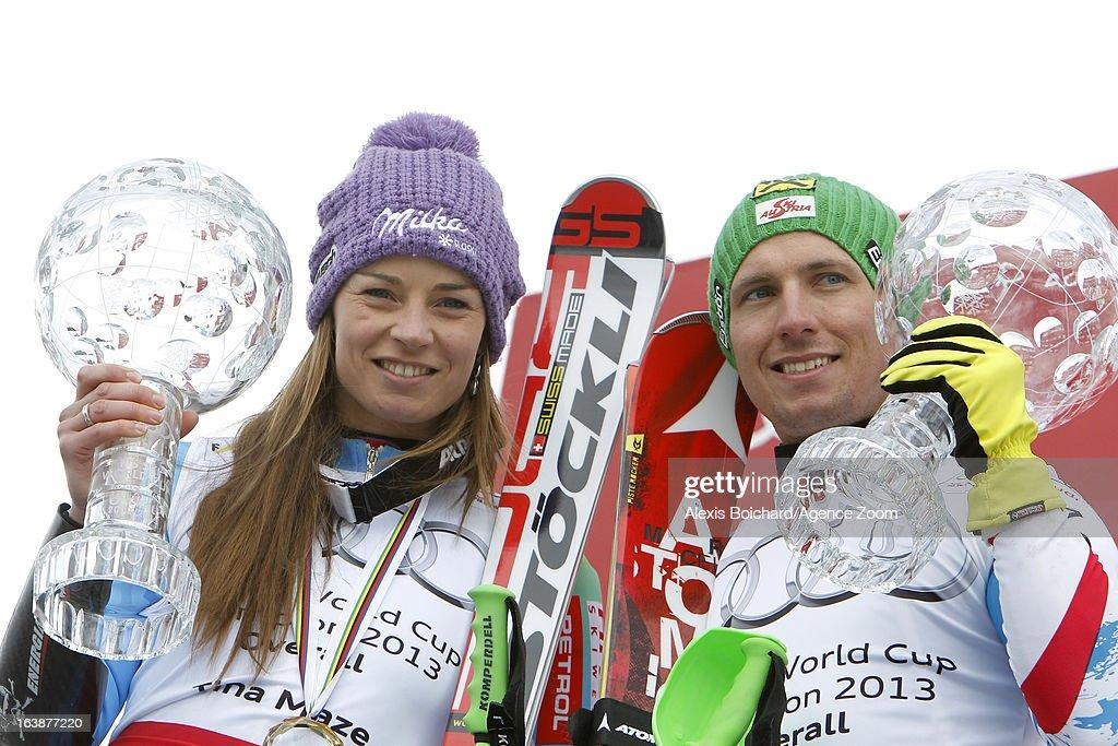 Tina Maze of Slovenia, Marcel Hirscher of Austria wins the Overall World Cup during the Audi FIS Alpine Ski World Cup Finals March 17, 2013 in Lenzerheide, Switzerland.