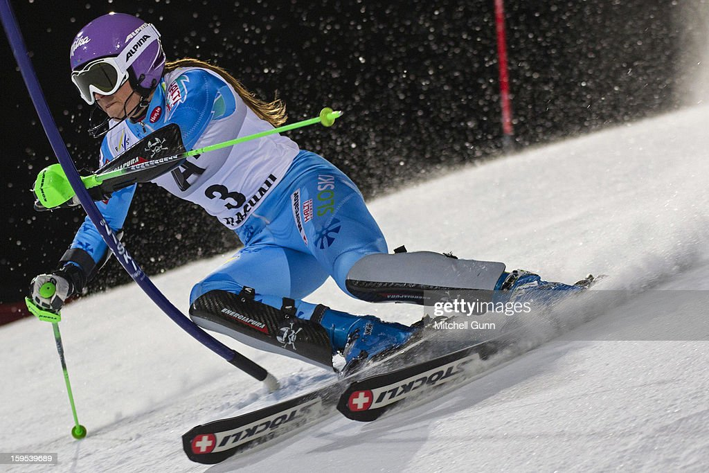 Tina Maze of Slovenia races down the course whilst competing in the Audi FIS Alpine Ski World Cup Slalom race on January 15, 2013 in Flachau, Austria,