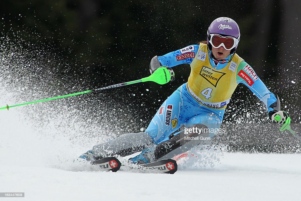 Tina Maze of Slovenia races down the course whilst competing in the Audi FIS Alpine Ski World Cup Women's Slalom on March 10, 2013 in Ofterschwang, Germany.