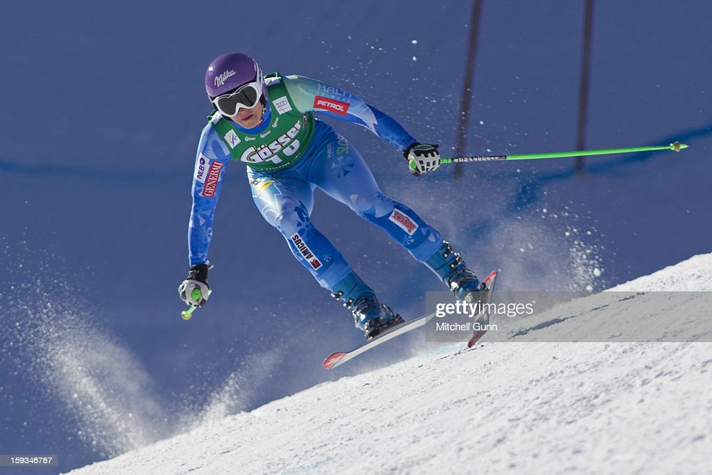 Tina Maze of Slovenia races down the Kandahar course while competing in the Audi FIS Alpine Ski World Cup downhill race on January 12, 2013 in St Anton, Austria.