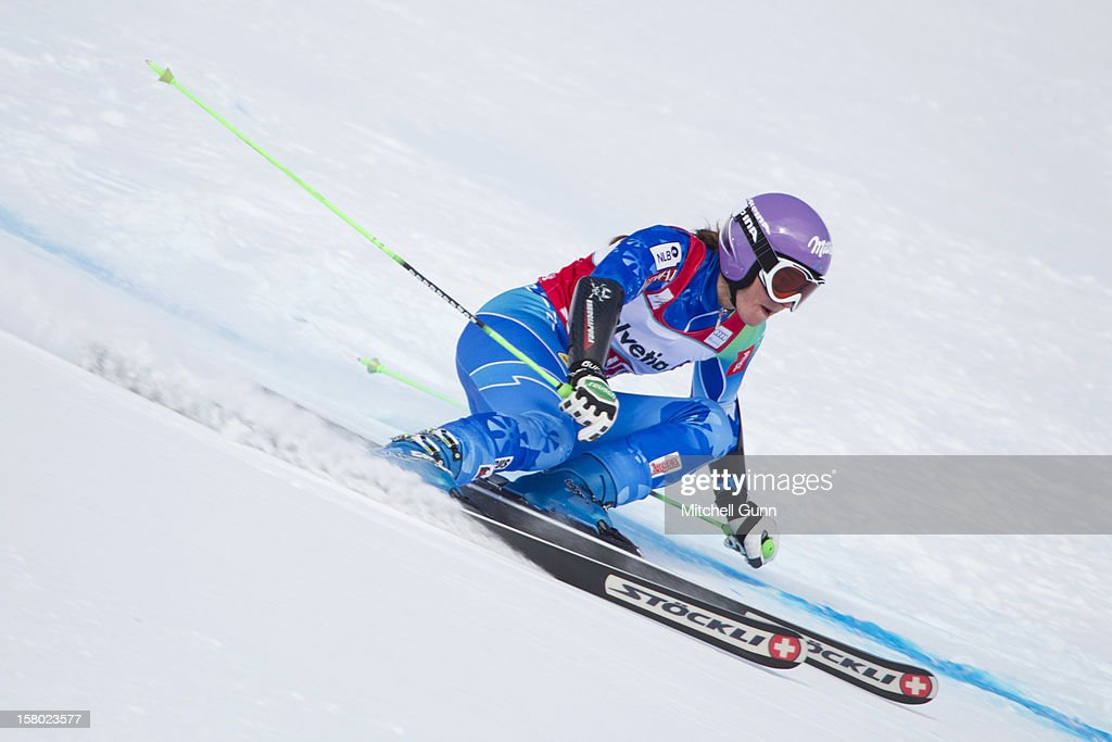 <a gi-track='captionPersonalityLinkClicked' href=/galleries/search?phrase=Tina+Maze&family=editorial&specificpeople=213514 ng-click='$event.stopPropagation()'>Tina Maze</a> of Slovenia races down the piste during the Audi FIS Alpine Ski World Giant Slalom race on December 9 2012 in St Moritz, Switzerland.
