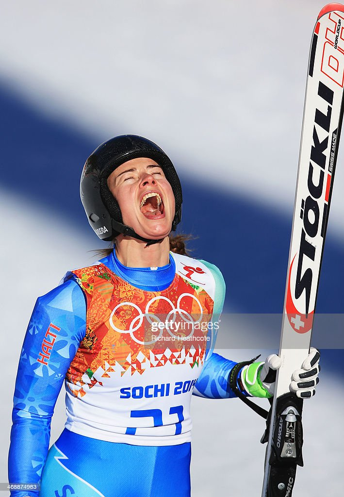<a gi-track='captionPersonalityLinkClicked' href=/galleries/search?phrase=Tina+Maze&family=editorial&specificpeople=213514 ng-click='$event.stopPropagation()'>Tina Maze</a> of Slovenia reacts after a run during the Alpine Skiing Women's Downhill on day 5 of the Sochi 2014 Winter Olympics at Rosa Khutor Alpine Center on February 12, 2014 in Sochi, Russia.
