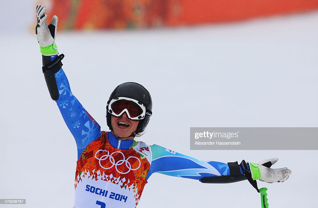 Tina Maze of Slovenia reacts after a run during the Alpine Skiing Women's Giant Slalom on day 11 of the Sochi 2014 Winter Olympics at Rosa Khutor Alpine Center on February 18, 2014 in Sochi, Russia.
