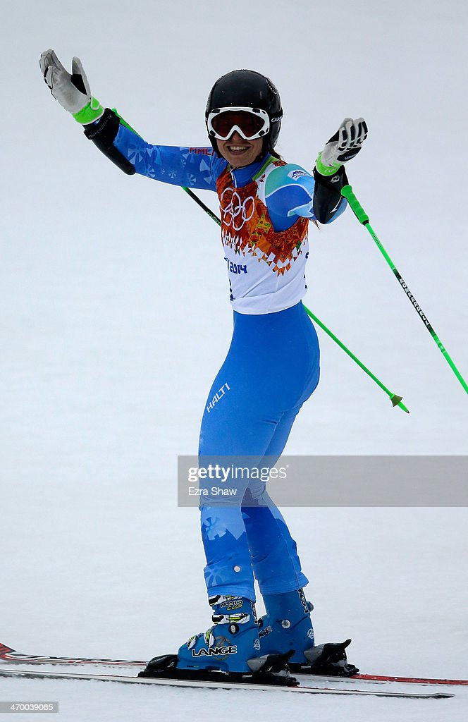 <a gi-track='captionPersonalityLinkClicked' href=/galleries/search?phrase=Tina+Maze&family=editorial&specificpeople=213514 ng-click='$event.stopPropagation()'>Tina Maze</a> of Slovenia reacts after a run during the Alpine Skiing Women's Giant Slalom on day 11 of the Sochi 2014 Winter Olympics at Rosa Khutor Alpine Center on February 18, 2014 in Sochi, Russia.