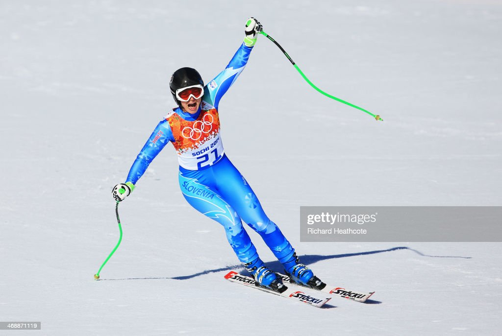 <a gi-track='captionPersonalityLinkClicked' href=/galleries/search?phrase=Tina+Maze&family=editorial&specificpeople=213514 ng-click='$event.stopPropagation()'>Tina Maze</a> of Slovenia reacts after her run during the Alpine Skiing Women's Downhill on day 5 of the Sochi 2014 Winter Olympics at Rosa Khutor Alpine Center on February 12, 2014 in Sochi, Russia.