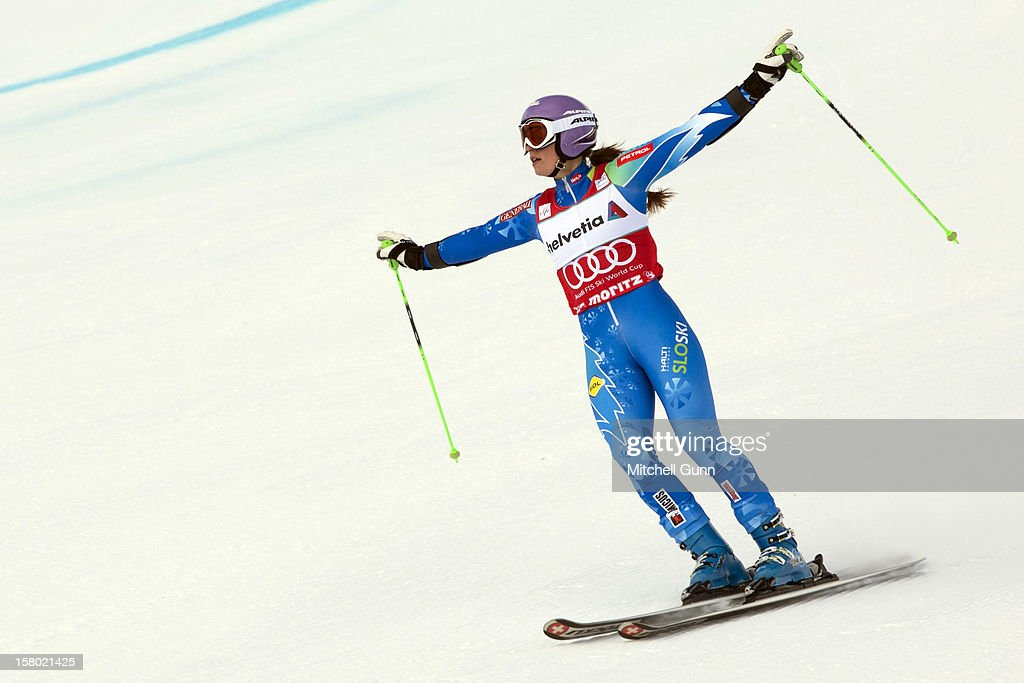 Tina Maze of Slovenia reacts in the finish area of the Audi FIS Alpine Ski World Giant Slalom race on December 9 2012 in St Moritz, Switzerland.