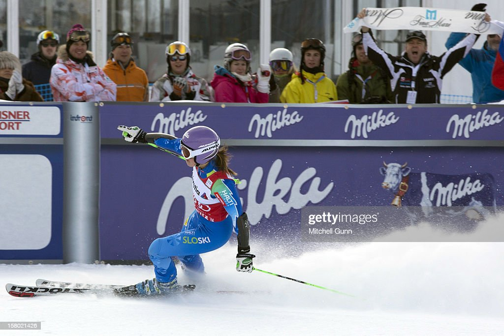 Tina Maze of Slovenia reacts in the finish area of the Audi FIS Alpine Ski World Giant Slalom race on December 9 2012 in St Moritz, Switzerland.