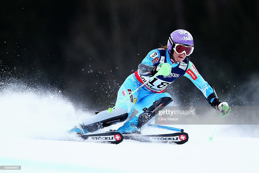 Tina Maze of Slovenia skis in the Slalom section on her way to finishing second in the Women's Super Combined during the Alpine FIS Ski World Championships on February 8, 2013 in Schladming, Austria.
