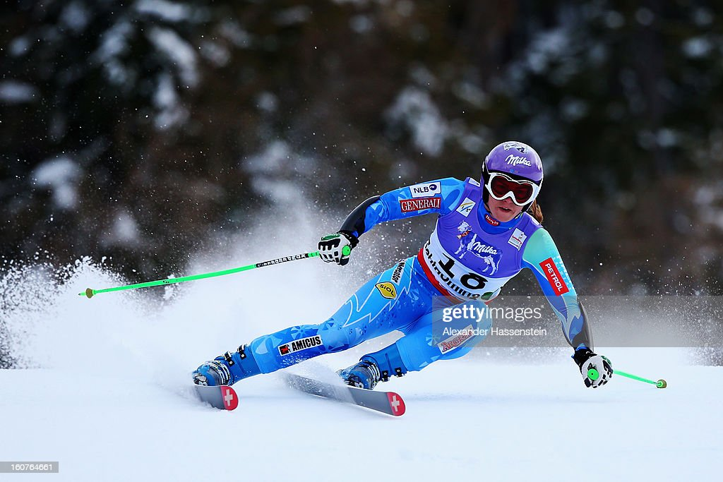 Tina Maze of Slovenia skis on her way to winning the Women's Super G event during the Alpine FIS Ski World Championships on February 5, 2013 in Schladming, Austria.