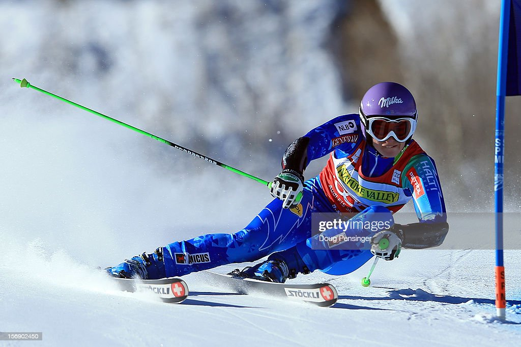 <a gi-track='captionPersonalityLinkClicked' href=/galleries/search?phrase=Tina+Maze&family=editorial&specificpeople=213514 ng-click='$event.stopPropagation()'>Tina Maze</a> of Slovenia skis the first run of the women's giant slalom at the Nature Valley Aspen Winternational Audi FIS Ski World Cup at Aspen Mountain on November 24, 2012 in Aspen, Colorado.