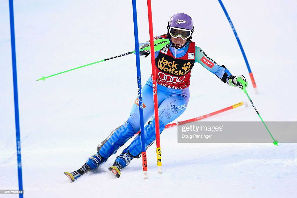 Tina Maze of Slovenia skis to second place in the first run of the ladies slalom at the 2014 Audi FIS Ski World Cup at the Nature Valley Aspen Winternational at Aspen Mountain on November 30, 2014 in Aspen, Colorado.