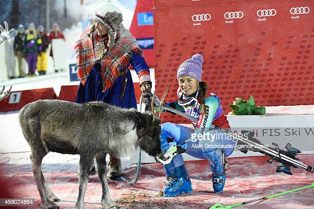 Tina Maze of Slovenia takes 1st place and won a reindeer named Victor during the Audi FIS Alpine Ski World Cup Women's Slalom on November 15 2014 in...