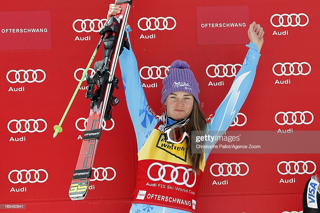 Tina Maze of Slovenia takes 1st place during the Audi FIS Alpine Ski World Cup Women's Slalom on March 10, 2013 in Ofterschwang, Germany.