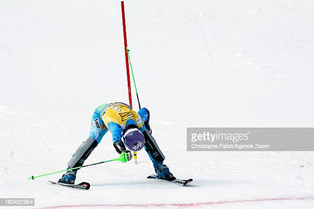 Tina Maze of Slovenia takes 1st place during the Audi FIS Alpine Ski World Cup Women's Slalom on March 10 2013 in Ofterschwang Germany