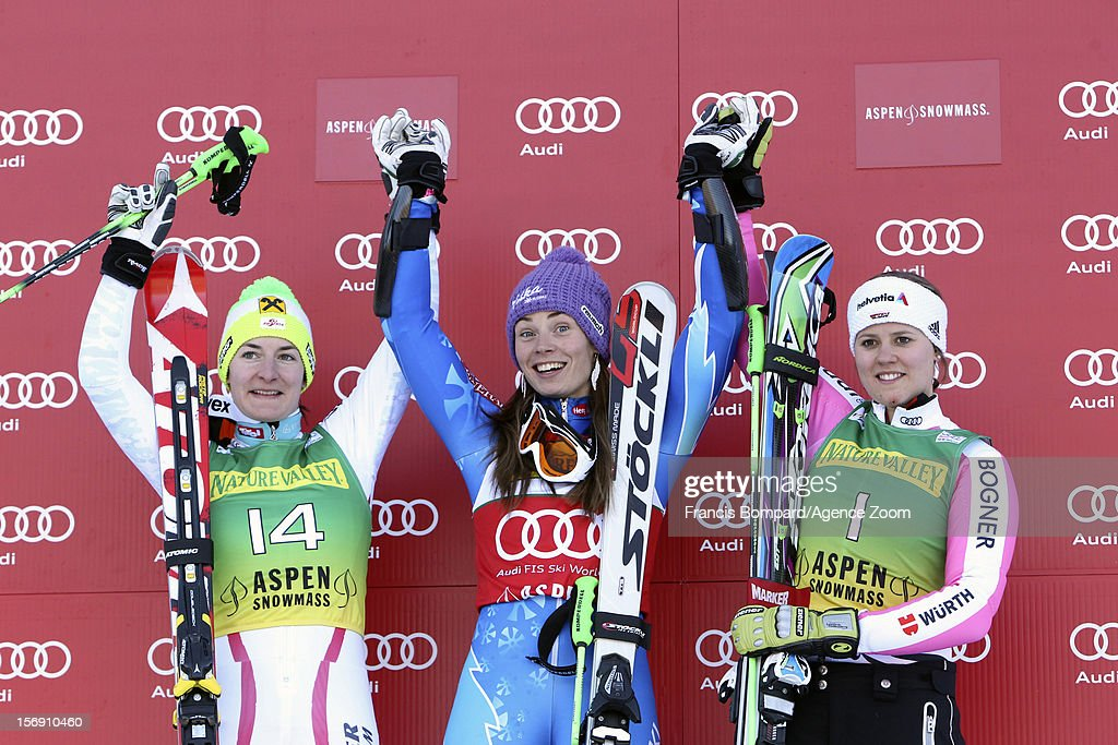 Tina Maze of Slovenia takes 1st place, Kathrin Zettel of Austria takes 2nd place, Viktoria Rebensburg of Germany takes 3rd placecompetes during the Audi FIS Alpine Ski World Cup Women's Giant Slalom on November 24, 2012 in Aspen, Colorado.
