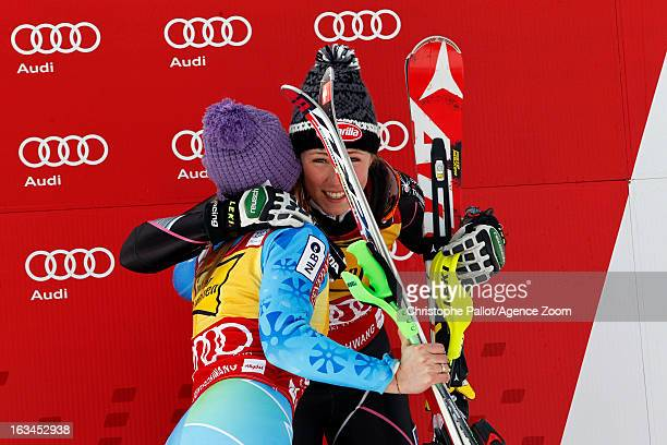 Tina Maze of Slovenia takes 1st place Mikaela Shiffrin of the USA takes 3rd place during the Audi FIS Alpine Ski World Cup Women's Slalom on March 10...