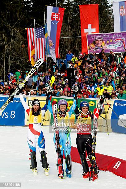 Tina Maze of Slovenia takes 1st place Wendy Holdener of Switzerland takes 2nd place Mikaela Shiffrin of the USA takes 3rd place during the Audi FIS...