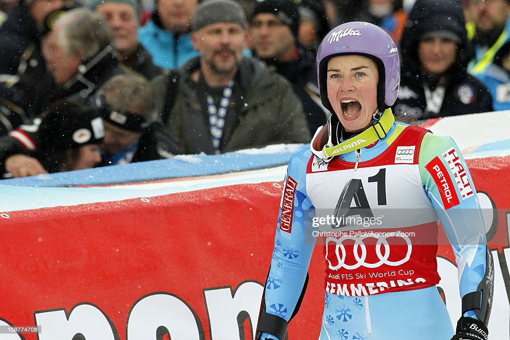 Tina Maze of Slovenia takes 2nd place during the Audi FIS Alpine Ski World Cup Women's Giant Slalom on December 28, 2012 in Semmering, Austria.