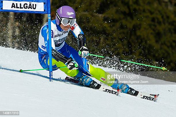 Tina Maze of Slovenia takes 3rd place competes during the Audi FIS Alpine Ski World Cup Women's Giant Slalom on March 3 2012 in Ofterschwang Germany