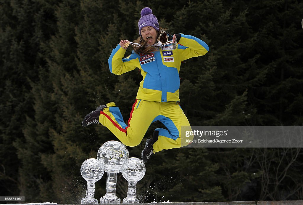 <a gi-track='captionPersonalityLinkClicked' href=/galleries/search?phrase=Tina+Maze&family=editorial&specificpeople=213514 ng-click='$event.stopPropagation()'>Tina Maze</a> of Slovenia takes the globe for the overall World Cup during the Audi FIS Alpine Ski World Cup Women's Giant Slalom on March 17, 2013 in Lenzerheide, Switzerland.