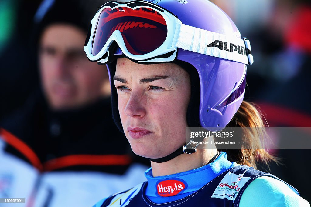 Tina Maze of Slovenia warms up in the start area before skiing in the Downhill section of the Women's Super Combined during the Alpine FIS Ski World Championships on February 8, 2013 in Schladming, Austria.