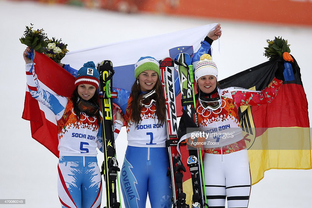 Tina Maze of Slovenia wins the gold medal, Anna Fenninger of Austria wins the silver medal, Viktoria Rebensburg of Germany wins the bronze medal during the Alpine Skiing Women's Giant Slalom at the Sochi 2014 Winter Olympic Games at Rosa Khutor Alpine Centre on February 18, 2014 in Sochi, Russia.