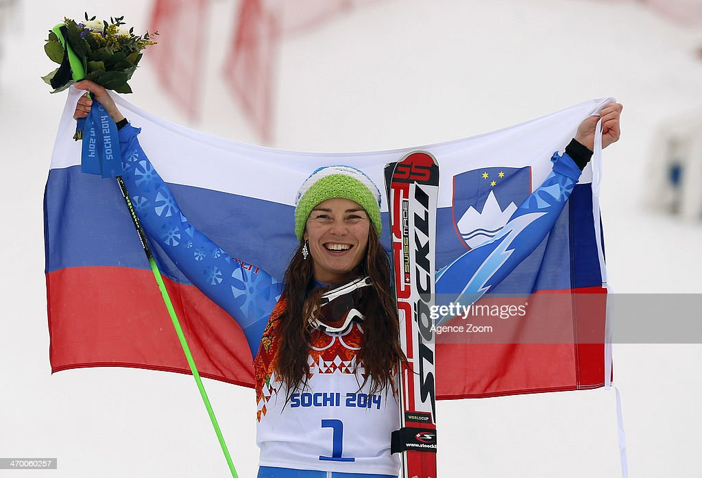 Tina Maze of Slovenia wins the gold medal during the Alpine Skiing Women's Giant Slalom at the Sochi 2014 Winter Olympic Games at Rosa Khutor Alpine Centre on February 18, 2014 in Sochi, Russia.