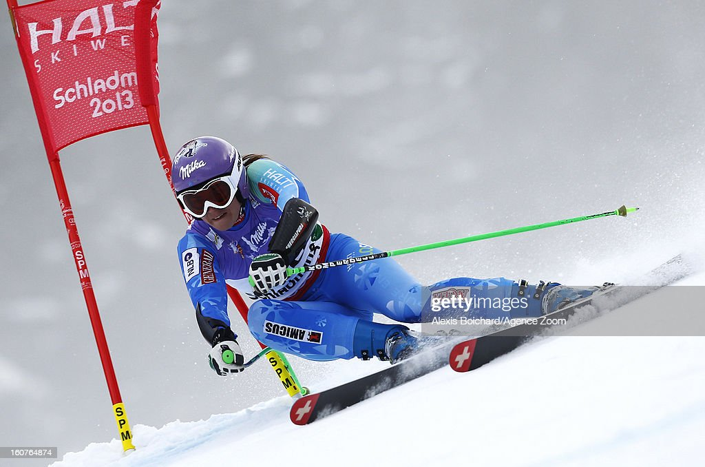 <a gi-track='captionPersonalityLinkClicked' href=/galleries/search?phrase=Tina+Maze&family=editorial&specificpeople=213514 ng-click='$event.stopPropagation()'>Tina Maze</a> of Slovenia wins the gold medal during the Audi FIS Alpine Ski World Championships Women's SuperG on February 05, 2013 in Schladming, Austria.