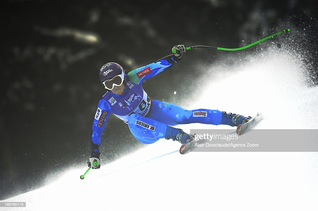 Tina Maze of Slovenia wins the gold medal during the Audi FIS Alpine Ski World Championships Women's SuperG on February 05, 2013 in Schladming, Austria.
