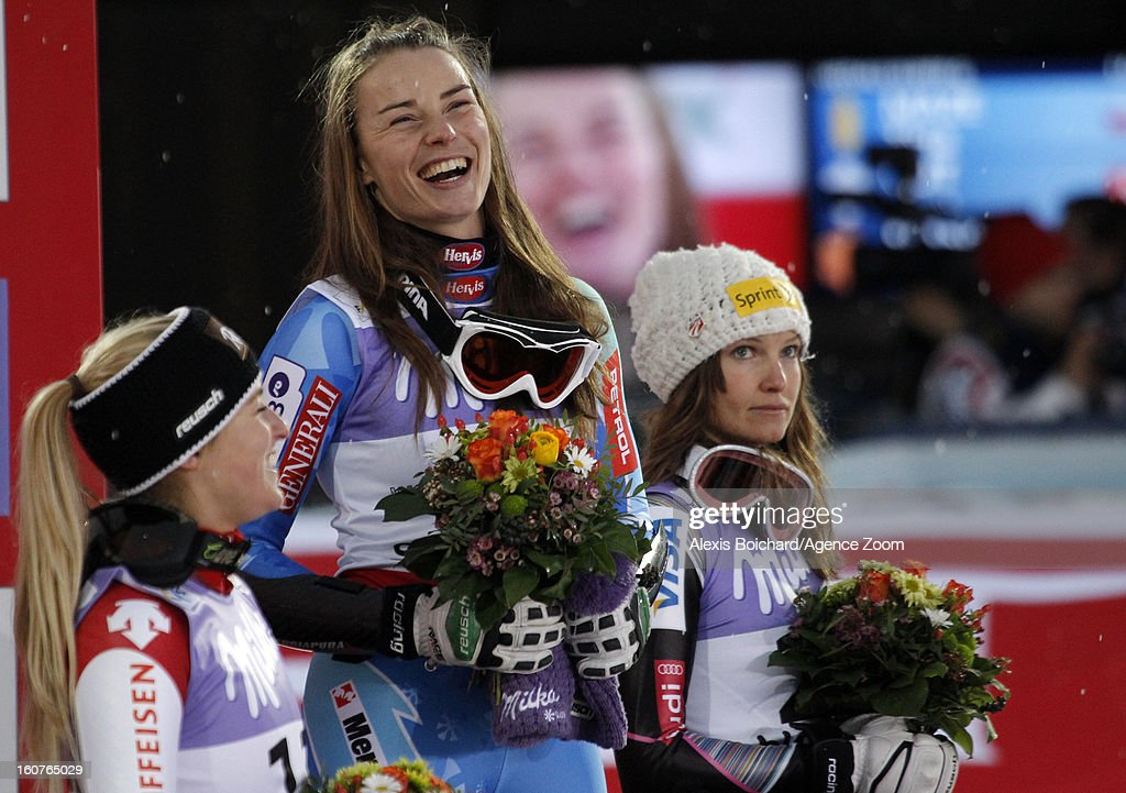 Tina Maze of Slovenia wins the gold medal, Lara Gut of Switzerland wins the silver medal, Julia Mancuso of the USA wins the bronze medal during the Audi FIS Alpine Ski World Championships Women's SuperG on February 05, 2013 in Schladming, Austria.