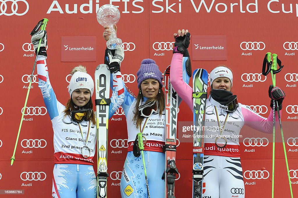 Tina Maze of Slovenia wins the Overall World Cup, Anna Fenninger of Austria takes 2nd place in the overall World Cup , Viktoria Rebensburg of Germany takes 3rd place in the overall World Cup during the Audi FIS Alpine Ski World Cup Finals March 17, 2013 in Lenzerheide, Switzerland.
